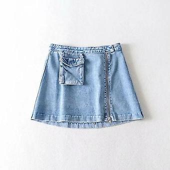 سستة جيب عالية الخصر تنورة الدنيم