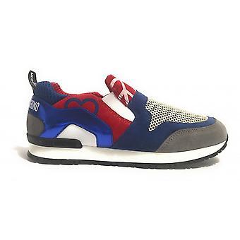 Damen Schuhe Slipon Love Moschino Mod Power Peace Mix Blau Rot Ds17mo08
