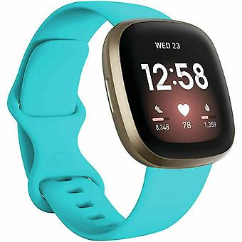 """voor Fitbit Versa 3 / Sense Replacement Strap Silicone Band Bracelet Wrist[Large Fits Wrist 7.2"""" - 8.7"""",Cyan]"""
