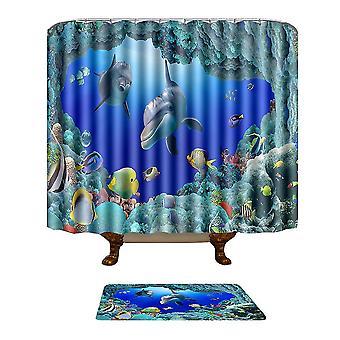 Combinaison de tapis de rideau de douche Rideau de douche 180-180cm tapis de plancher 50-80