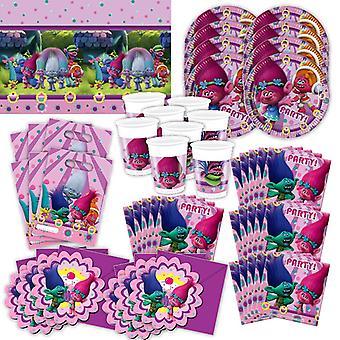 Os trolls festa conjunto 56 XL para 6 hóspedes troll festa aniversário decoração pacote de festa