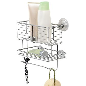 mDesign Bath Caddy - Metal Shower Tray with Suction Cup for Shampoo and Other Shower Accessories - Hanging Storage Basket - Silver