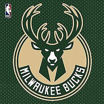 NBA Milwaukee Bucks Napkin 33 x 33 cm (Total Pieces: 16), Multicoloured, 7AM5136161