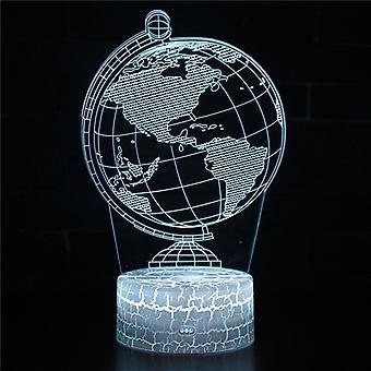 3D Optisk illusionslampa LED Nattljus, 7 färger Touch Sänglampa Sovrum Bord Art Deco Barn Nattljus med USB-kabel Nyhet Julklapp Present-solsystem # 324