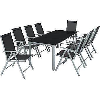 tectake Aluminium havemøbler 8+1 - lysegrå