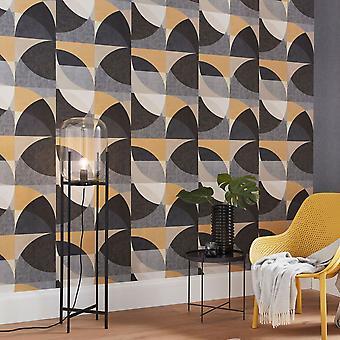 Elle Decoration Geometric Circle Graphic Wallpaper Gold Grey Cream 1015015