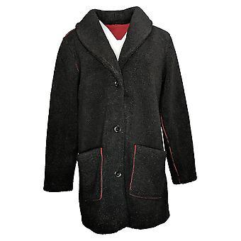 Susan Graver Women's Reversible Sherpa & Polar Fleece Coat Red A383194