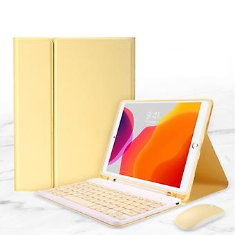 """ABEIFAN Keyboard Cover for iPad 10.2 """"(2019) with Wireless Mouse - QWERTY Multifunction Keyboard Bluetooth Smart Cover Case Sleeve Yellow"""