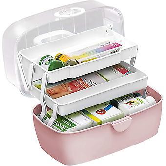 Medicine Box,First Aid Box,Portable Medicine Chest Storage,Organizer Box,Fold 3-Layer Large Medicine