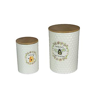 Set of 2 Honey Bee Tea Ceramic Jar Storage Canister Airtight Dolomite Containers
