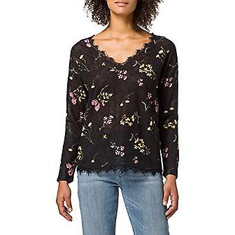 Springfield Camiseta Efecto Lino Cuello Puntilla T-Shirt, Black, S Woman
