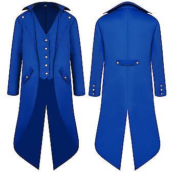 Bleu m hommes moyen âge ancien manteau swallowtail robe longue tailcoat cai1110