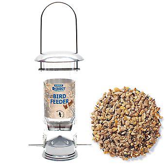 1 x Helt enkelt Direkt Deluxe Wild Bird Seed Feeder med 1,8 KG påse blandat fröfoder