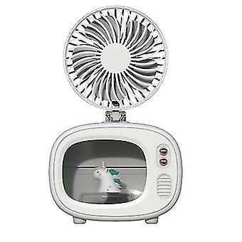 Valkoinen yksisarvinen kannettava tv-muodon ilmankostuttimet, usb viileä sumu ilmankostutin ilmastointilaitteilla tuuletin az4206
