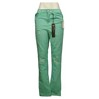 DG2 by Diane Gilman Women's Jeans 8T Tall Destructed Skinny Green 696856