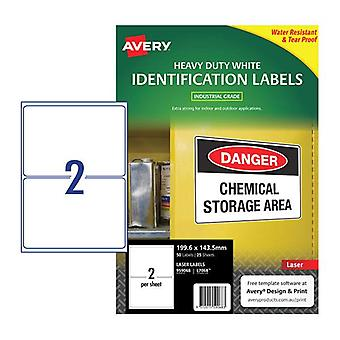 Avery Laser Label Hd L7068 2Up Pack Of 25