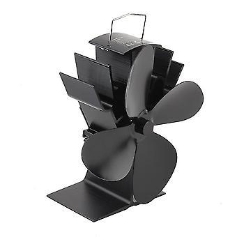 Durable 4 Blades Aluminum Black Heat Powered Stove Fan Fuel Saving Stove Fan