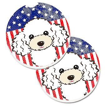 Caroline's Treasures American Flag & White Poodle Set di 2 Cup Holder Car Coasters BB2187CARC, 2.56, Multicolor