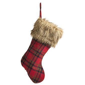 52cm Röd Tartan julstrumpa med fuskpälsch