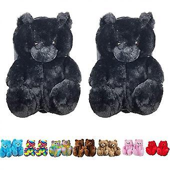 Teddy Bear Slippers, Home Indoor Soft Anti-slip Faux Fur Cute Slippers(Black)