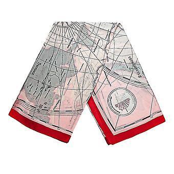 Šátek s mapovými motivy - Růžová a červená, č. 29