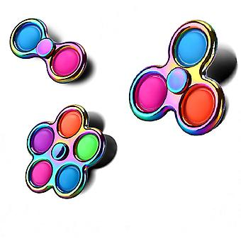 Pop Simple Fidget Spinner 3 pcs, Push Pop Bubble et Stress Relief Sensory Toy beaux cadeaux de Noël pour enfants et adultes