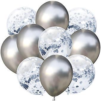 10pcs/lot 12 Inch  Contient 5pcs Metal Color +5pcs Confetti Latex Balloons