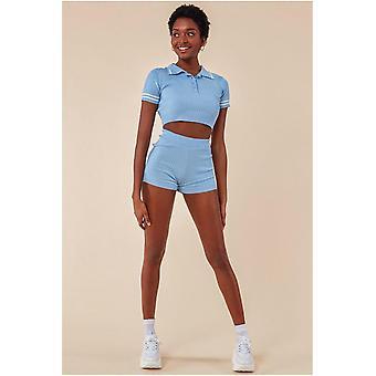 Cosmochic Crop Top & Short Loungewear Set - Blue