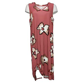 MarlaWynne Dress Shadow Floral Print Side Knot Red 694245