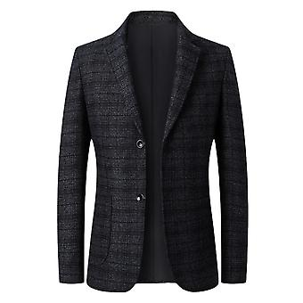Silktaa Men's Plaid Fashion Lapel Two Button Business Blazer