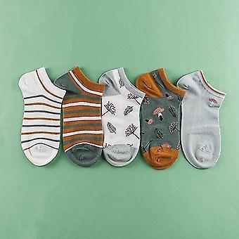 5 Pairs set of cotton summer spring socks, themed(Mushroom Style 1)