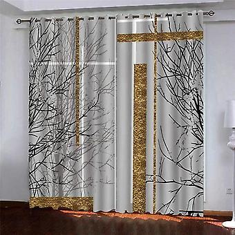 クリエイティブ3Dゴールデンアート印刷サーマルシェーディングリビングルームカーテングロメットと屋内カーテン140x260 Cm