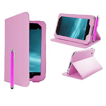 Angle Book Leather case cover for Google Nexus 7 (2012) + stylus pen - Baby Pink