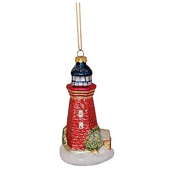 Lighthouse Blown Glass Christmas Holiday Ornament Cape Shore