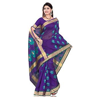 Modern Blue designer Sari saree Indian Bellydance fabrc wrap