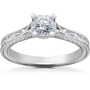 1/2ct Lab Grown Vintage Scroll Solitaire Sophia Engagement Ring 14k White Gold