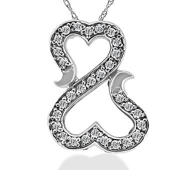 "1/4ct ""Amore"" Diamond Heart Pendant 10K White Gold"
