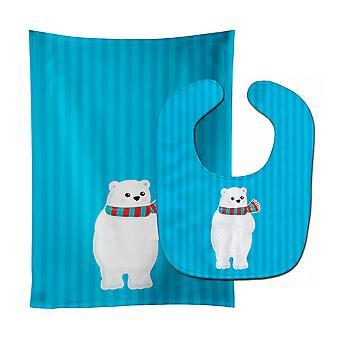 Carolines skarby BB8984STBU niedźwiedzia polarnego #2 Baby Bib & Burp tkanina