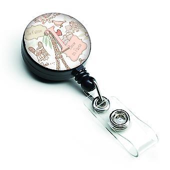 Letter I Love in Paris Pink Retractable Badge Reel