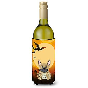 Halloween French Bulldog Cream Wine Bottle Beverge Insulator Hugger