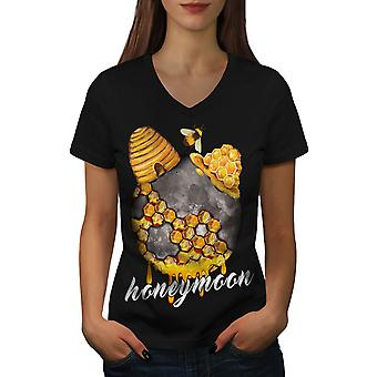 Honeymoon Wedding Women BlackV-Neck T-shirt | Wellcoda