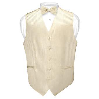Męskie kamizelki sukienka & BOWTie pionowe paski projekt muszka zestaw