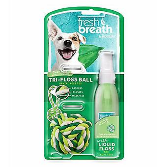 Tropiclean Fresh Breath Tri-Floss Dental Rope Ball With Liquid Floss