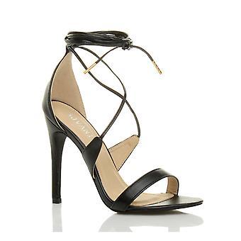Ajvani kvinners høy hæl knapt det strappy blonder binde opp sandaler sko