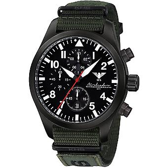 KHS Herrenuhr Airleader zwarte stalen chronograaf KHS. AIRBSC. NXTO1
