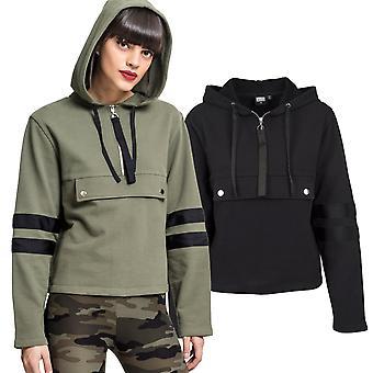 Urban classics ladies - Peached Terry half Zip Sweater short Hoody