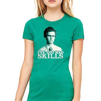 Napoleon Dynamite Mad Skills Women's Kelly Green Funny T-shirt