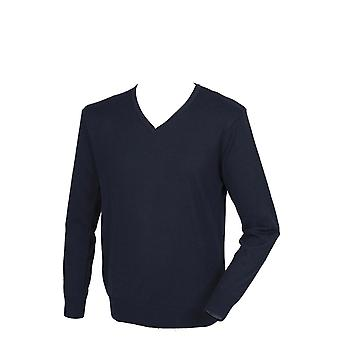 Henbury Mens Cashmere Touch Acrylic V-Neck Jumper