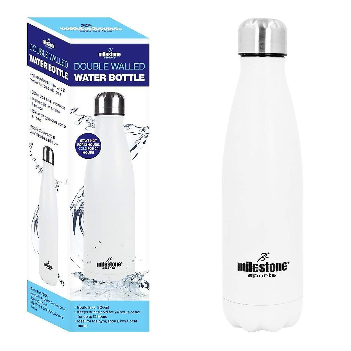 White Water Bottle 500ml BPA Free Stainless Steel Vacuum Insulated Double Wall Hot & Cold Sports Drinks Bottle