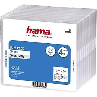 Hama 4x CD slimline Jewel Case 4 CDs/DVDs/Blu-rays Polystyrol Transparent 10 stück (B x H x T) 142 x 124 x 10 mm 00051273
